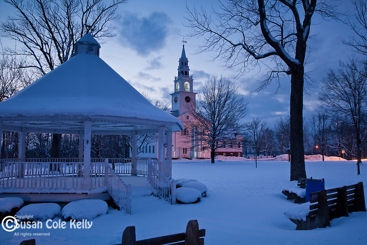 Dusk on the town common of Templeton, MA, USA