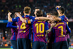 Lionel Messi of FC Barcelona celebrating his score with his teammates during the La Liga 2018-19 match between FC Barcelona and Sevilla FC at Camp Nou Stadium on October 20 2018 in Barcelona, Spain. Photo by Vicens Gimenez / Power Sport Images