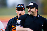 Head Coach Frank Anderson (3) of the Oklahoma State Cowboys is thrown out by Home Plate Umpire John Brammer (24) during a game against the Missouri State Bears at Hammons Field on March 6, 2012 in Springfield, Missouri. (David Welker / Four Seam Images)