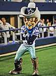 The Dallas Cowboys mascot, Rowdy, in action during the pre- season game between the St. Louis Rams and the Dallas Cowboys at the Cowboys Stadium in Arlington, Texas. Dallas defeats St. Louis  20 to 19.
