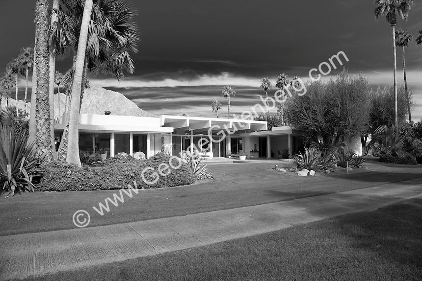 Black and White image of A. Quincy Jones designed mid-century home Stock photo of Frank Capra's A. Quincy Jones designed mid-century home in La Quinta, California