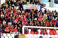 TUNJA  - COLOMBIA – 30 - 05 - 2017: Hinchas de Patriotas F. C., animan a su equipo durante partido de vuelta entre Patriotas F. C. de Colombia y Everton of Chile, de la primera fase, llave 5 por la Copa Conmebol Sudamericana en el estadio La Independencia de la ciudad de Tunja. / Fans of Patriotas F. C., cheer for their team during a match of the second leg of the first phase key 5 of between Patriotas F. C. of Colombia and Everton of Chile, for the Conmebol Sudamericana Cup 2017 at the La Libertad stadium in the city of Tunja. Photo: VizzorImage / Javier Morales / Cont.
