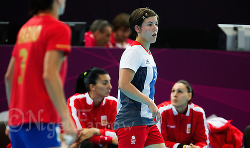 25 JUL 2012 - LONDON, GBR - Marie Gerbron (GBR) of Great Britain watches play during the women's London 2012 Olympic Games warm up handball match against Spain at The Copper Box in the Olympic Park, in Stratford, London, Great Britain .(PHOTO (C) 2012 NIGEL FARROW)