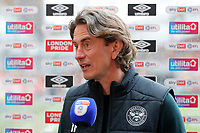 1st May 2021; Brentford Community Stadium, London, England; English Football League Championship Football, Brentford FC versus Watford; A delighted Brentford Manager Thomas Frank answering questions from the written press after their win
