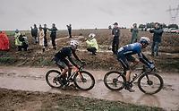 Sonny Colbrelli (ITA/Bahrain-Victorius) tagging along behind Kasper Asgreen (DEN/Deceuninck-Quick Step)<br /> <br /> 118th Paris-Roubaix 2021 (1.UWT)<br /> One day race from Compiègne to Roubaix (FRA) (257.7km)<br /> <br /> ©kramon