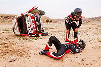 7th January 2021; Riyadh to Buraydah, Saudi Arabia; Dakar Rally, stage 5;  332 Lategan Henk (zaf), Cummings Brett (zaf), Toyota, Toyota Gazoo Racing, lays injured after he crashes and rolls the car during the 5th stage of the Dakar 2021 between Riyadh and Buraydah, in Saudi Arabia on January 7, 2021