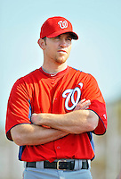 24 February 2012: Washington Nationals' pitcher Brad Lidge waits for warm ups at the Carl Barger Baseball Complex in Viera, Florida. Mandatory Credit: Ed Wolfstein Photo