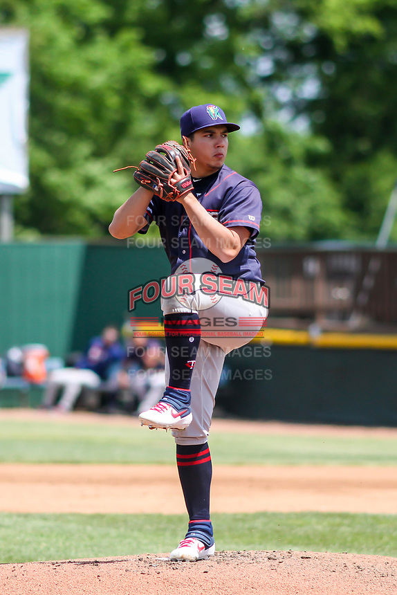 Cedar Rapids Kernels pitcher Andrew Cabezas (21) on the mound during a Midwest League game against the Beloit Snappers on June 2, 2019 at Pohlman Field in Beloit, Wisconsin. Beloit defeated Cedar Rapids 6-1. (Brad Krause/Four Seam Images)