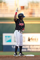 AZL Indians 1 catcher Eric Rodriguez (12) celebrates after reaching second base during an Arizona League game against the AZL White Sox at Goodyear Ballpark on June 20, 2018 in Goodyear, Arizona. AZL Indians 1 defeated AZL White Sox 8-7. (Zachary Lucy/Four Seam Images)