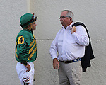 Scenes from Gulfstream Park. Connections of Honor Code discussing the race. Hallandale Beach, Florida 03-12-2014