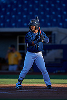 AZL Brewers Blue Jackie Urbaez (8) at bat during an Arizona League game against the AZL Athletics Gold on July 2, 2019 at American Family Fields of Phoenix in Phoenix, Arizona. AZL Athletics Gold defeated the AZL Brewers Blue 11-8. (Zachary Lucy/Four Seam Images)