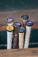 LSU Tigers baseball bats on June 18, 2015 at TD Ameritrade Park in Omaha, Nebraska. (Andrew Woolley/Four Seam Images)