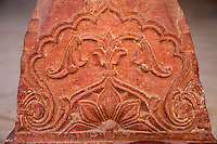 Jaipur, Rajasthan, India.  Islamic Floral  Motifs on the Base of the Columns of the Diwan-i-Am, the Hall of Public Audience.  The tops of these columns have Hindu motifs, illustrating the combination of the two traditions by the Mughal rulers.
