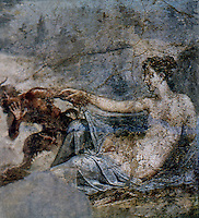 Ancient Erotica:  Fresco--Pan and the Hermaphrodite.  From the House of the Dioscuri, Pompeii.  Photo '84.