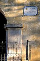Isola di Pianosa. Pianosa Island. .Le targhe stradali dedicate ai morti ammazzati dalla mafia..The street signs dedicated to the dead killed by the Mafia..Via Peppino e Felicia Impastato..