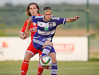 20160520 - TUBIZE , BELGIUM : Anderlecht's Anaelle Wiard pictured with Standard's Maud Coutereels (left) during a soccer match between the women teams of RSC Anderlecht and Standard Femina de Liege , during the sixth and last matchday in the SUPERLEAGUE Playoff 1 , Friday 20 May 2016 . PHOTO SPORTPIX.BE / DAVID CATRY