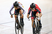 Natasha Hansen and Olivia Podmore compete in the Women Elite Sprint during the 2020 Vantage Elite and U19 Track Cycling National Championships at the Avantidrome in Cambridge, New Zealand on Friday, 24 January 2020. ( Mandatory Photo Credit: Dianne Manson )