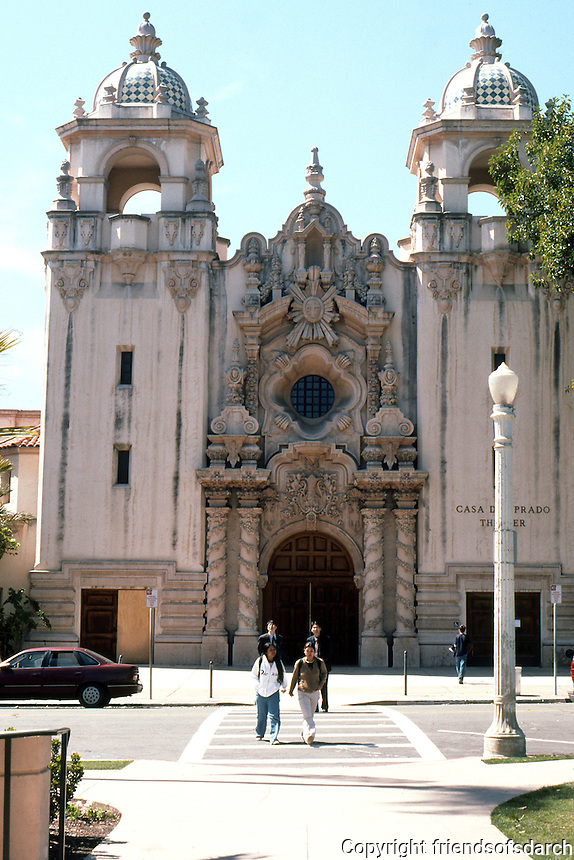 San Diego: Casa del Prado, Balboa Park. Architect Bertram Goodhue. Churriqueresque. Photo '78.