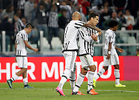 Calcio, Champions League: Gruppo D - Juventus vs Siviglia. Torino, Juventus Stadium, 30 settembre 2015.  <br /> Juventus's Simone Zaza celebrates with teammates Hernanes, right, after scoring during the Group D Champions League football match between Juventus and Sevilla at Turin's Juventus Stadium, 30 September 2015. Juventus won 2-0.<br /> UPDATE IMAGES PRESS/Isabella Bonotto