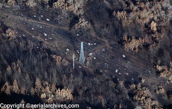 Pacific Gas and Electric (PG&E) electrical power transmission lines, Tubbs Fire, Sonoma County, California, northern California wildfires, 2017.