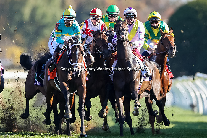 November 6, 2020: Riders collide at the start of the Juvenile Turf Presented By Coolmore America on Breeders' Cup Championship Friday at Keeneland on November 6, 2020: in Lexington, Kentucky. Wendy Wooley/Breeders' Cup/Eclipse Sportswire/CSM