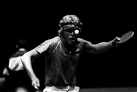 Pix: Michael Steele/SWpix.com. Table Tennis, Alexander Palace. London 1987..COPYWRIGHT PICTURE>>SIMON WILKINSON>>01943 436649>>..One in the eye. Table Tennis, London 1987