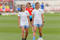 Chicago, IL - Saturday July 30, 2016: Amanda Da Costa, Jennifer Hoy prior to a regular season National Women's Soccer League (NWSL) match between the Chicago Red Stars and FC Kansas City at Toyota Park.