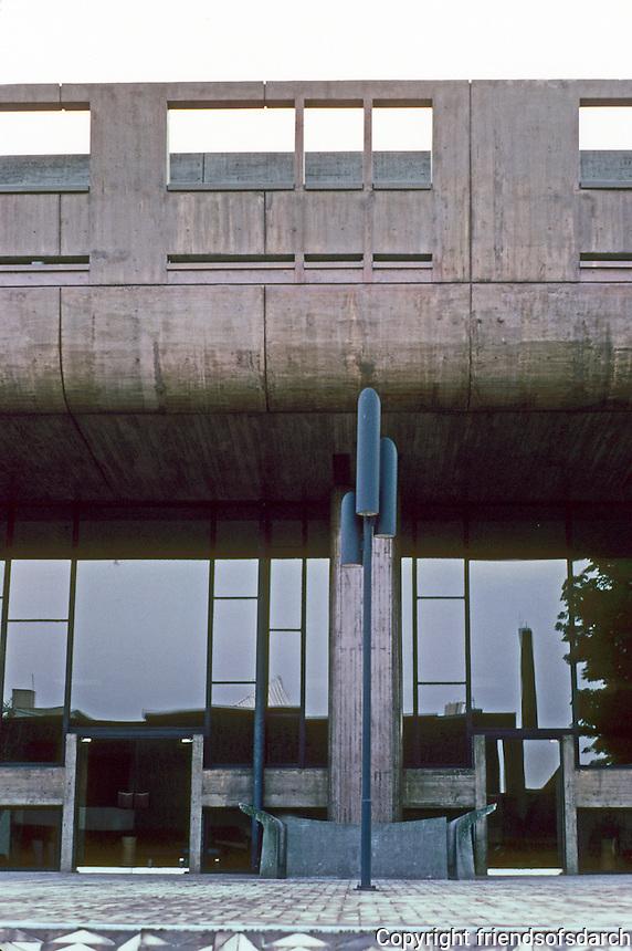 Tokyo: Metropolitan Festival Hall by Kunio Mayekawa, 1961.  Modern reinforced concrete building. Photo '82.