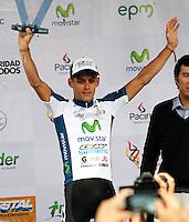 MANIZALES - COLOMBIA - 13-06-2013: Oscar Sánchez del equipo GW Shimano, en Manizales, junio 13 de 2013. Sánchez ganó la sexta etapa de la 63 vuelta a Colombia en Bicicleta. (Foto: VizzorImage / Yonboni / Str.) Oscar Sanchez, of GW Shimano team in Manizales, June 13, 2013. Sanchez won the sixth stage of the Colombia's 63 tour. (Photo: VizzorImage / Yonboni / Str)
