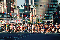 Long distance runners during roadrace.