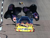 Feb 28, 2016; Chandler, AZ, USA; NHRA funny car driver Jim Campbell during the Carquest Nationals at Wild Horse Pass Motorsports Park. Mandatory Credit: Mark J. Rebilas-