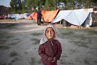 A child  earthquake survivor in a makeshift  shelter camp at Bhaktapur, near Kathmandu, Nepal.  May 03, 2015