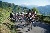 Vasil Kiryienka (BLR/SKY) up the final climb<br /> <br /> stage 16: Luarca - Ermita de Alba. Quiros (185km)<br /> 2015 Vuelta à Espagna