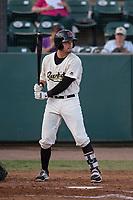 Visalia Rawhide designated hitter Dominic Miroglio (27) at bat during a California League game against the Stockton Ports at Visalia Recreation Ballpark on May 8, 2018 in Visalia, California. Stockton defeated Visalia 6-2. (Zachary Lucy/Four Seam Images)