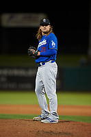 Rancho Cucamonga Quakes relief pitcher Stetson Allie (23) prepares to deliver a pitch during a California League game against the Stockton Ports at Banner Island Ballpark on May 16, 2018 in Stockton, California. Rancho Cucamonga defeated Stockton 6-3. (Zachary Lucy/Four Seam Images)
