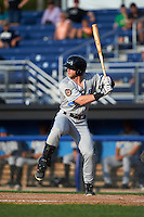 Hudson Valley Renegades designated hitter Jake Fraley (27) at bat during a game against the Batavia Muckdogs on July 31, 2016 at Dwyer Stadium in Batavia, New York.  Hudson Valley defeated Batavia 4-1.  (Mike Janes/Four Seam Images)