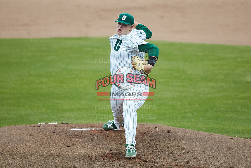 Charlotte 49ers starting pitcher Hale Sims (43) in action against the Appalachian State Mountaineers at Atrium Health Ballpark on March 23, 2021 in Kannapolis, North Carolina. (Brian Westerholt/Four Seam Images)