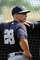 Manager Joe Girardi of the New York Yankees before a Spring Training game against the Atlanta Braves on Wednesday, March 18, 2015, at Champion Stadium at the ESPN Wide World of Sports Complex in Lake Buena Vista, Florida. The Yankees won, 12-5. (Tom Priddy/Four Seam Images)