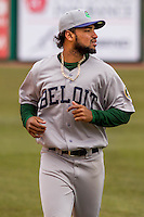 Beloit Snappers infielder Jesus Lopez (7) warms up prior to a Midwest League game against the Wisconsin Timber Rattlers on April 10th, 2016 at Fox Cities Stadium in Appleton, Wisconsin.  Wisconsin defeated Beloit  4-2. (Brad Krause/Four Seam Images)
