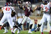Texas A&M quarterback Kenny Hill (7) throws a pass during second half of an NCAA football game, Saturday, October 11, 2014 in College Station, Tex. Ole Miss defeated Texas A&M 35-20. (Mo Khursheed/TFV Media via AP Images)