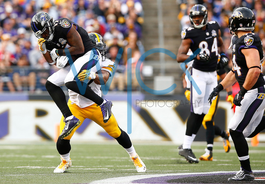 Jeremy Butler #17 of the Baltimore Ravens catches a pass in front of James Harrison #92 of the Pittsburgh Steelers in the second half during the game at M&T Bank Stadium on December 27, 2015 in Baltimore, Maryland. (Photo by Jared Wickerham/DKPittsburghSports)