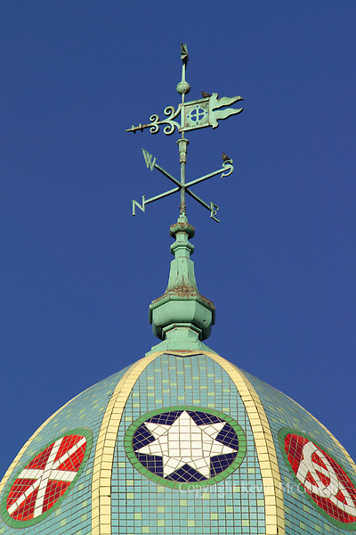 Mosaic tiled church dome and weathervane atop First Presbyterian Church in Tacoma