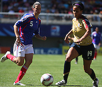 Chile, Chillan: Usa forward Sydney Leroux goes for the ball along with Laura Aagard during the football match of the Fifa U-20 Women¥s World Cup the at Nelson Oyarz˙n stadium in Chill·n , on November the ninth 2008 2008. . GROSNIA / sergio Araneda