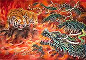 Kayomi, REALISTIC ANIMALS, paintings, tiger , dragon, DragonAndTigerIntheFire_M, USKH51,#A# realistische Tiere, realista, illustrations, pinturas