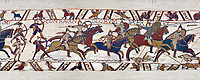11th Century Medieval Bayeux Tapestry - Scene 51 William encourages his soldiers into battle. Battle of Hastings 1066.