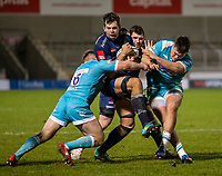 8th January 2021; AJ Bell Stadium, Salford, Lancashire, England; English Premiership Rugby, Sale Sharks versus Worcester Warriors; Josh Beaumont of Sale Sharks is tackled by Isaac Miller of Worcester Warriors