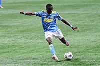 ATLANTA, GA - APRIL 27: Philadelphia Union midfielder Jamiro Monteiro shoots the ball during a game between Philadelphia Union and Atlanta United FC at Mercedes-Benz Stadium on April 27, 2021 in Atlanta, Georgia.
