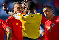 CARSON, CA - FEBRUARY 1: Giancarlo Gonzalez #3 and David Guzman #20 of Costa Rica listen to the referee during a game between Costa Rica and USMNT at Dignity Health Sports Park on February 1, 2020 in Carson, California.