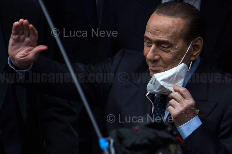 Silvio Berlusconi.<br /> <br /> Rome, Italy. 09th Feb, 2021. Silvio Berlusconi, former Italian Prime Minister and President of Forza Italia Party arrives at the Italian Parliament to have a meeting with the designated Italian Prime Minister - and former President of the European Central Bank -, Mario Draghi. Today is the last day of Mario Draghi's consultations at Palazzo Montecitorio, meeting delegations of the Italian political parties in his attempt to form the new Italian Government.