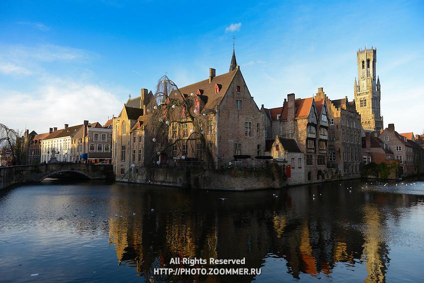 Famous Belfort Tower View With Dijver River Canal, Brugge, Belgium